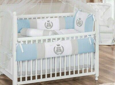 Royal Bear Theme Blue Gray Baby Boy 07pcs Nursery Crib Bedding Set .
