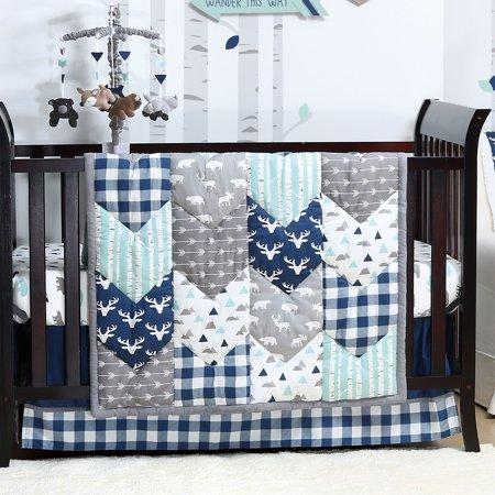 Woodland Trail 6 Piece Baby Boy Crib Bedding Set Mountain Moose .