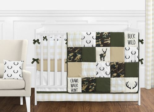 Green and Beige Deer Buffalo Plaid Check Woodland Camo Baby Boy .