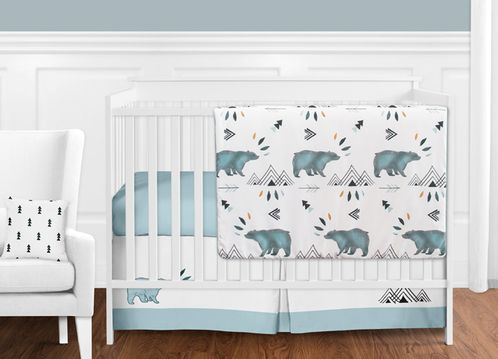 Bear Mountain Watercolor Baby Boy Crib Bedding Set without Bumper .