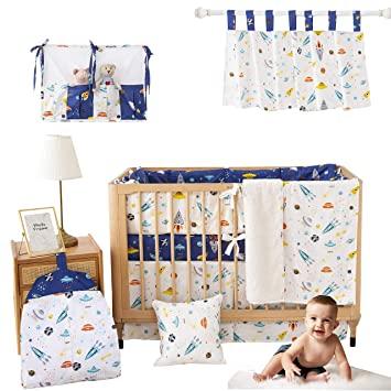 Amazon.com : Brandream Baby Boys Navy/White Crib Bedding Sets with .
