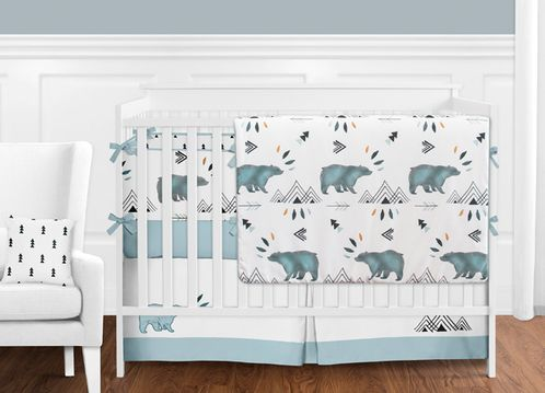 Bear Mountain Watercolor Baby Boy Crib Bedding Set with Bumper by .