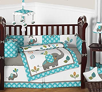 Amazon.com : Sweet Jojo Designs 9-Piece Turquoise Blue Gray and .