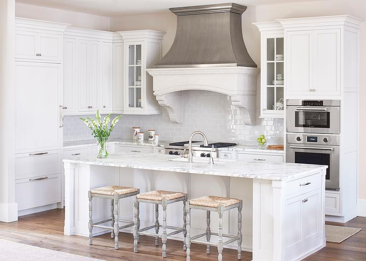 White and Gray Kitchen with Zinc French Kitchen Hood .