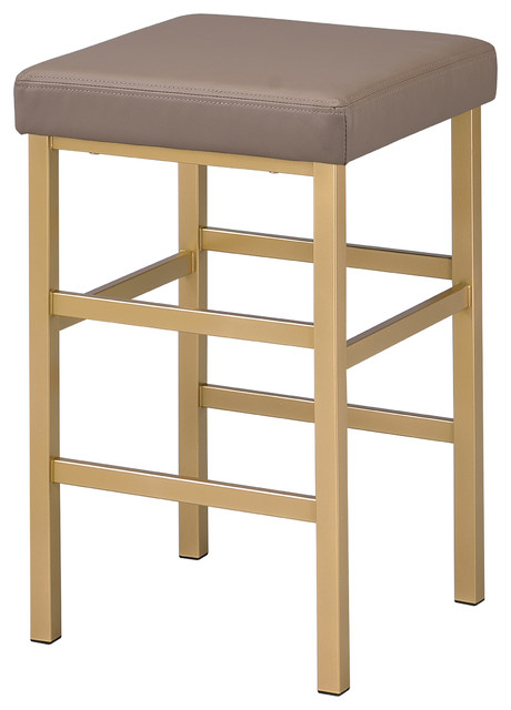 """26"""" Gold Backless Stool, Camel - Contemporary - Bar Stools And ."""