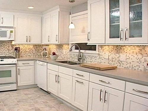Kitchen Backsplash Tile Ideas With White Cabine