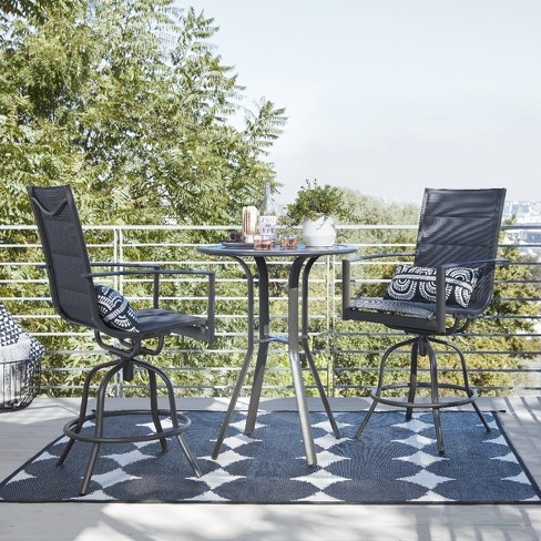 Avalon 3pc Sling Balcony Height Patio Bistro Dining Set - Black .