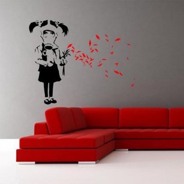 Enhanced Striking Wall Decor Vinyls Modern Art Banksy Gas Mask .