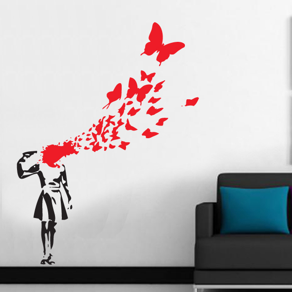 Free Shipping Large Size 100x130cm Banksy Butterfly Suicide Girl .
