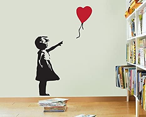 FoundaryWallArt Banksy Wall Decal - Girl With Balloon Heart Wall .