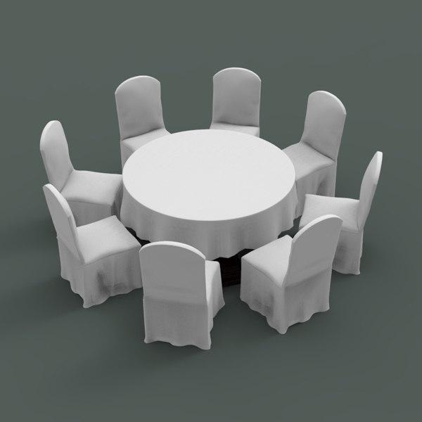 3d table chair banquet mod