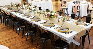 Whitewash Wood Banquet Table | All Out Event Rent