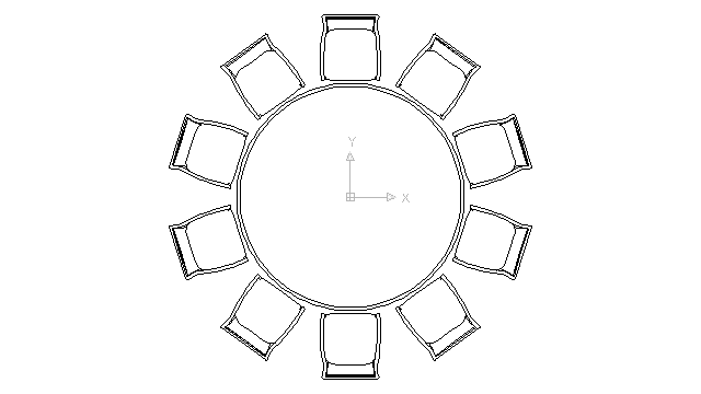 Autocad drawing large round table with chairs for celebrations banqu