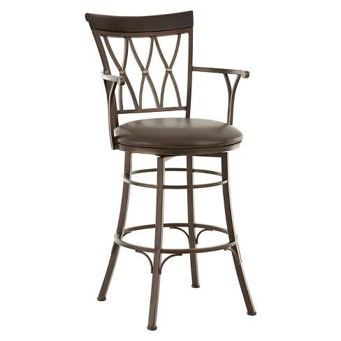 "Bali 30"" Jumbo Swivel Bar Chair With Armrest Metal - Steve Silver ."