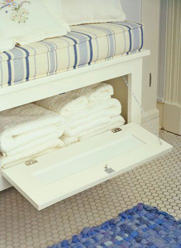 Bathroom Storage Made Simple | Window seat storage, White bathroom .