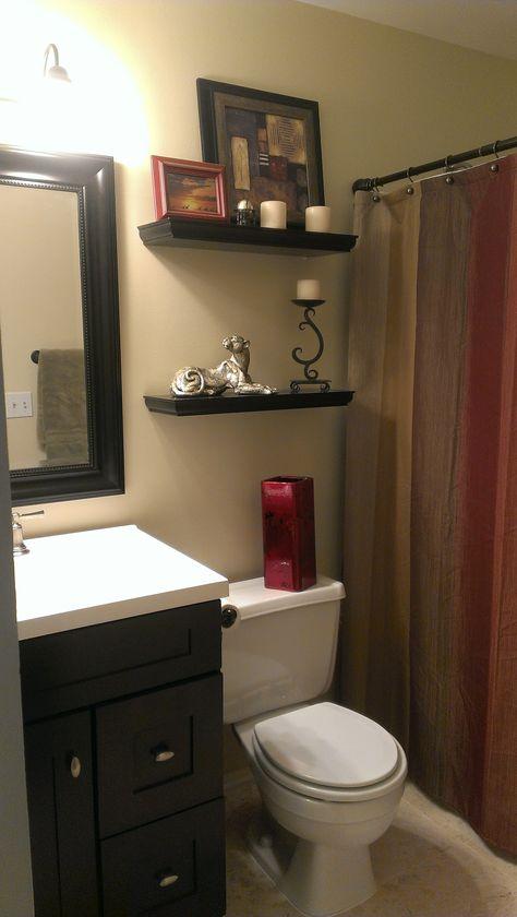 Small bathroom with earth tone color scheme. | Bathroom color .
