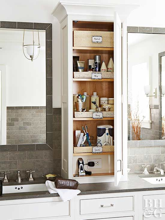 19 Clever Ways to Organize Bathroom Cabinets | Bathroom countertop .