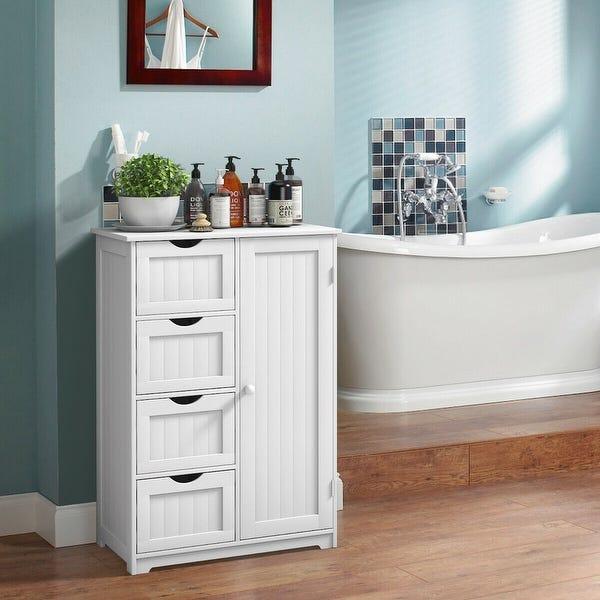 Shop Costway Wooden 4 Drawer Bathroom Cabinet Storage Cupboard 2 .