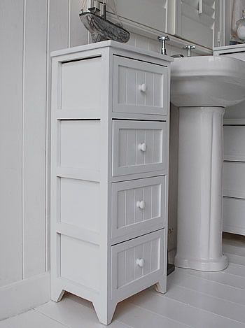 side view of the white tall bathroom storage cabinet | White .