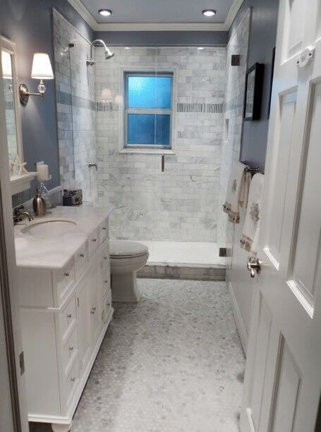 Small Bathroom Flooring Ideas With Small White Brick Wall And .