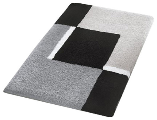 Small Bath Rug, Modern Anti Skid Bathroom Rug, Gray - Contemporary .