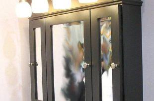 three door medicine cabinet, place frames around sink | Lighted .