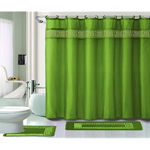 Green Bathroom Sets with Shower Curtain and Rugs and Accessories .