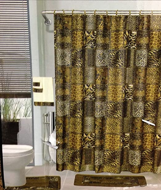 Amazon.com: 18pcs Bath Rug Set LEOPARD BROWN Bathroom Rug Shower .