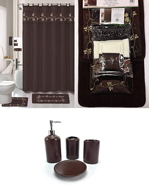 Amazon.com: 22 Piece Bath Accessory Set Beverly Chocolate Brown .