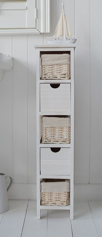 bathroom storage shelves with baskets