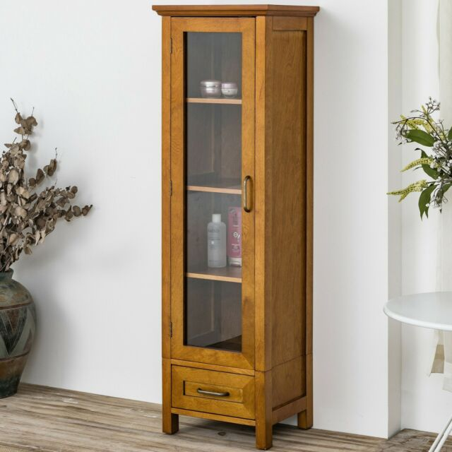 Bathroom Linen Tower Cabinet Tall Modern Wood Towel Stand Storage .