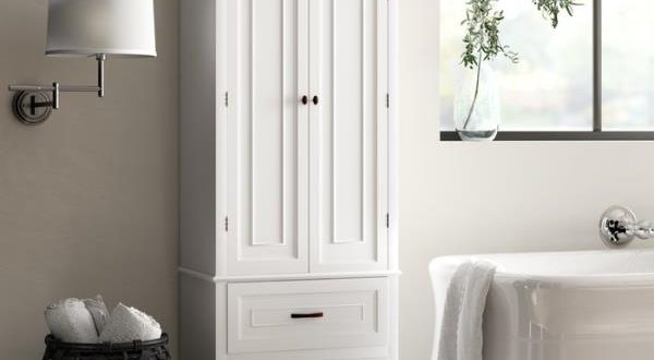 White Finish Linen Tower Bathroom Towel Storage Cabinet Tall .
