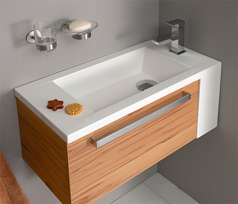 Oasis Compact Bath Vanity by Pelipal for small bathroo