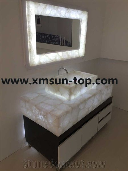 White Crystal Semiprecious Bath Tops with Sinks/Pure White Semi .