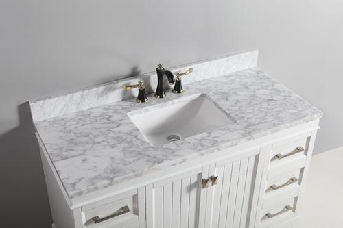 """Tuscany® 49"""" x 22"""" Carrara Marble Vanity Top with Wave Bowl at ."""