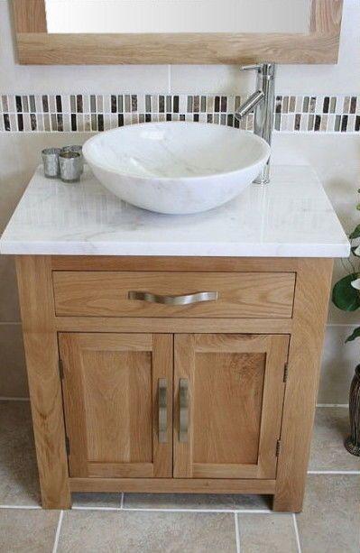 Solid Oak Bathroom Vanity Unit Basin Floor Cabinets Marble Bowl .