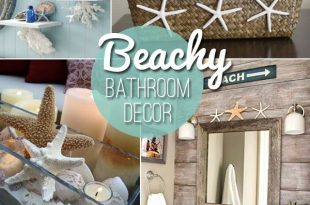 Beach themed decor ideas & inspirations for a summer bathroom .