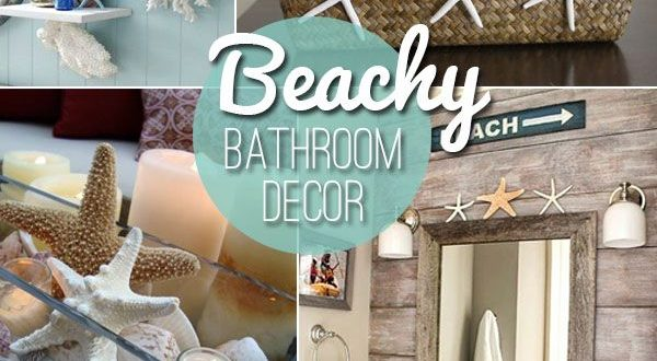 Beach themed decor ideas & inspirations for a summer bathroom .