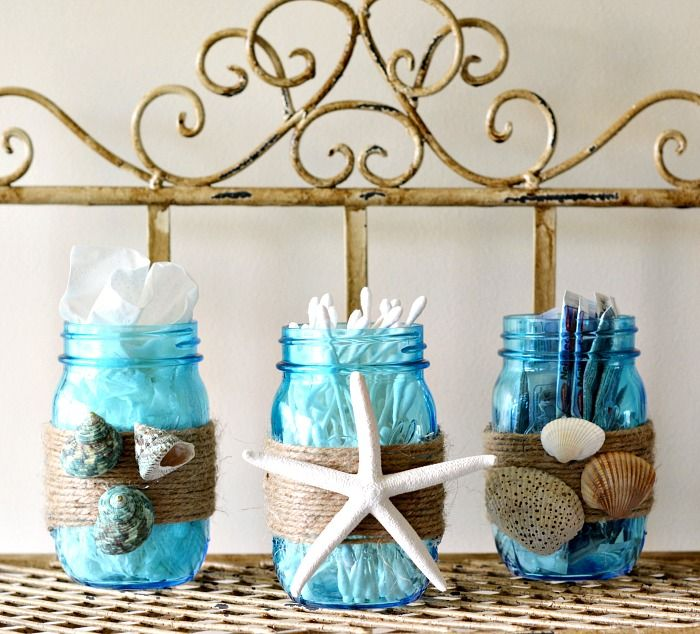 DIY Beach Themed Bathroom Mason Jar Storage Set Craft | Beach .