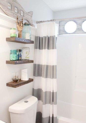 DIY makeover beach-themed bathroom decor style | Bathroom makeover .
