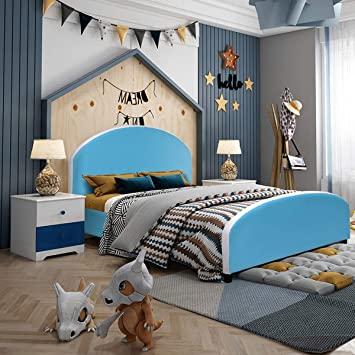 Amazon.com : Costzon Toddler Bed, Twin Size Upholstered Platform .