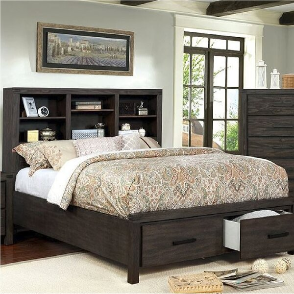 Bookcase Headboard Platform Storage Bed W/ Drawers Various Size .