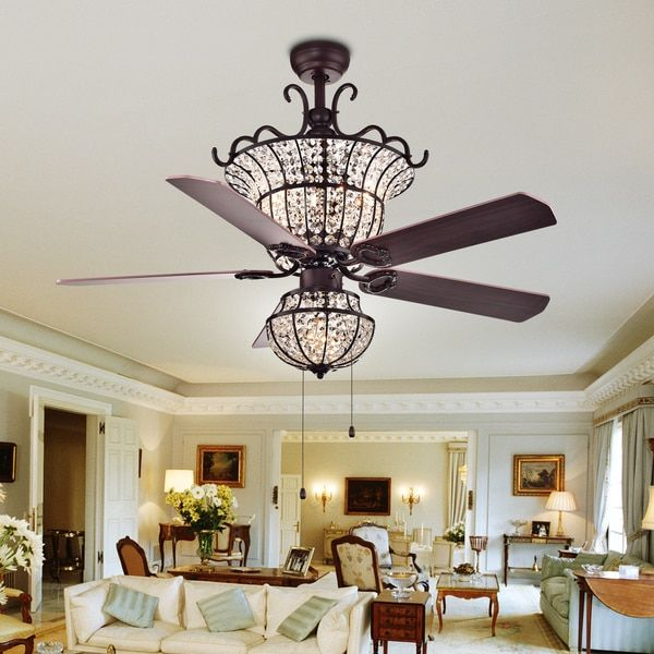Charla 4-light Crystal 5-blade 52-inch Chandelier Ceiling Fan .