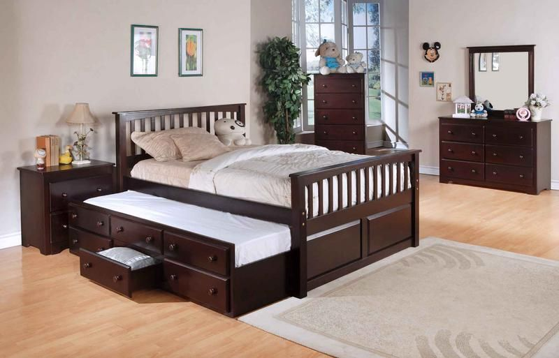 Queen Trundle Bed With Nightstand Set And Storage Underbed (With .