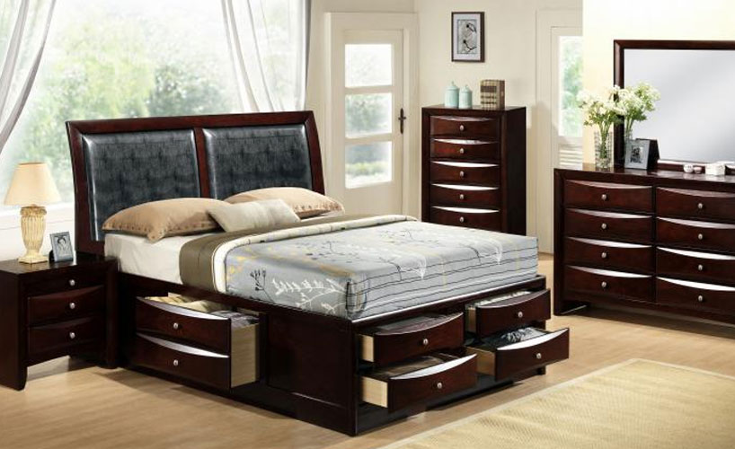 bedroom set with drawers under bed