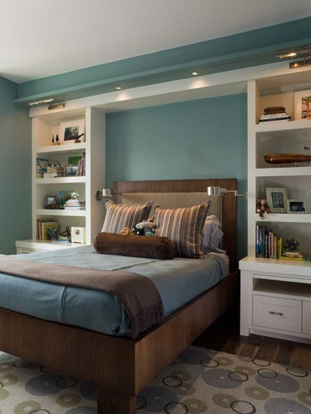 Storage ideas around the headboard with custom shelves | Small .