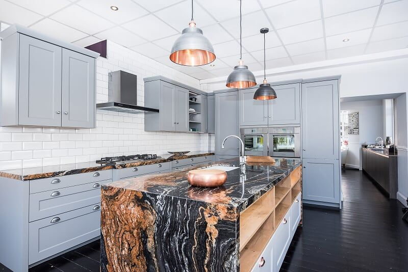 Ex Display Rotpunkt Kitchen, Island, Granite Worktops and .