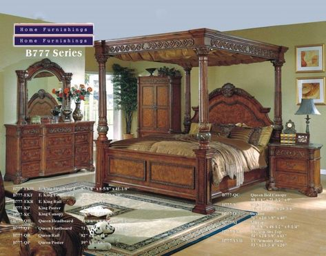 Best King Size Canopy Bedroom Sets | King size canopy bed, Canopy .