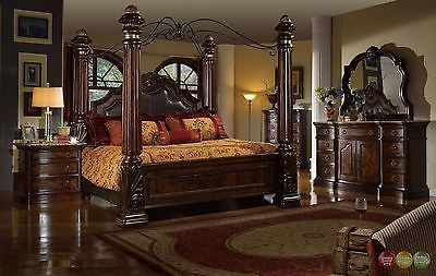 Traditional King Poster Canopy Leather Bed 4 Piece Bedroom Set .