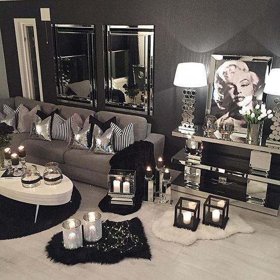 ♡ ᒪOᑌIᔕE ♡ | Silver living room decor, Silver living room .